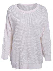 Solid Color 3/4 Sleeve Sweater - White