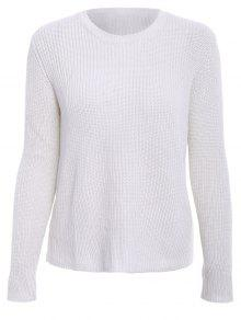 Solid Color Long Sleeve Knitwear - Off-white L