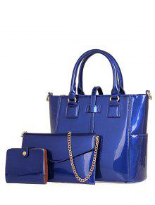 Buy Patent Leather Strap Solid Color Tote Bag - BLUE