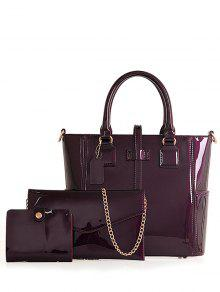 Buy Patent Leather Strap Solid Color Tote Bag - PURPLE