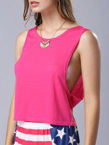 U Neck Pure Color Cut Out Tank Top - Rose Xl