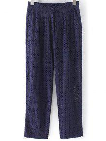 Hollow Out Solid Color Pants - Purplish Blue M