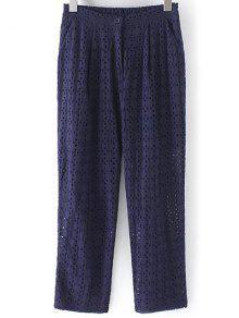 Buy Hollow Solid Color Pants - PURPLISH BLUE M