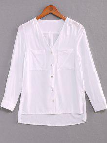 Buy Single-Breasted V-Neck High Low Shirt - WHITE M