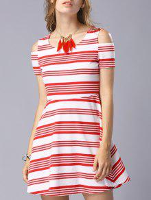 Striped Scoop Neck Short Sleeve Cold Shoulder Dress - Red M