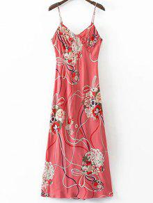 Floral Cami Open Back Dress - L