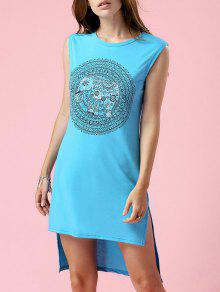 High-Low Printed Round Neck Sleeveless Dress - Turquoise S