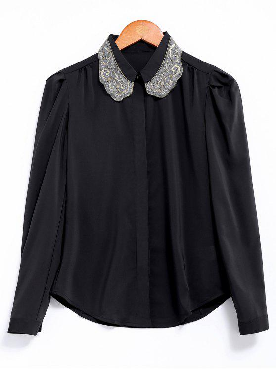 lady Embroidery Collar Loose Shirt - BLACK M