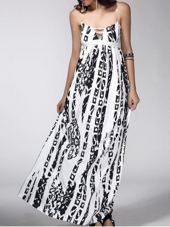 فستان مفتوحة الظهر طباعة نظرية مريح - أبيض L