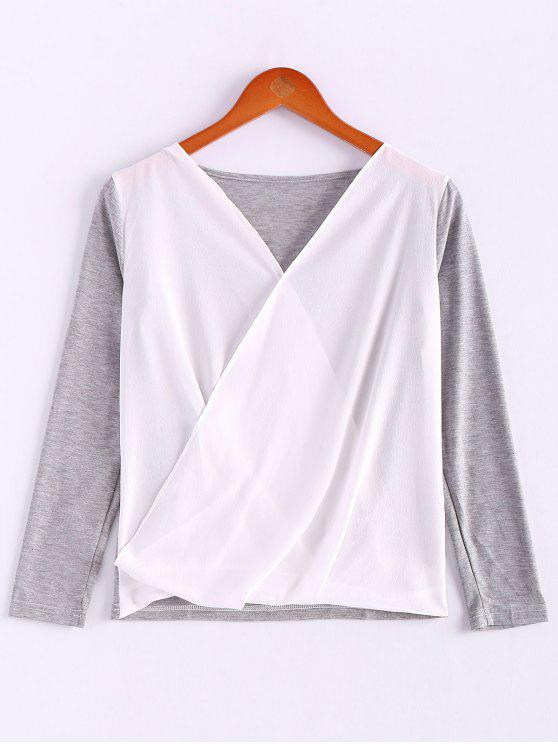 affordable V-Neck Long Sleeve Splicing Blouse - GRAY XL