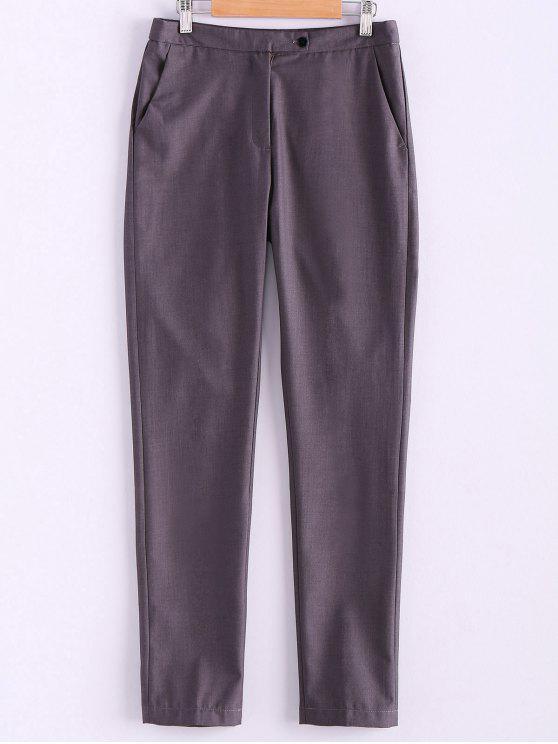 trendy Narrow Feet Solid Color Pants - GRAY L