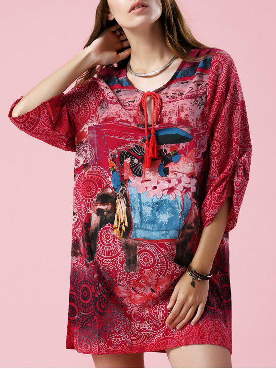 unique Elephant Print V Neck 3/4 Sleeve Dress - COLORMIX S