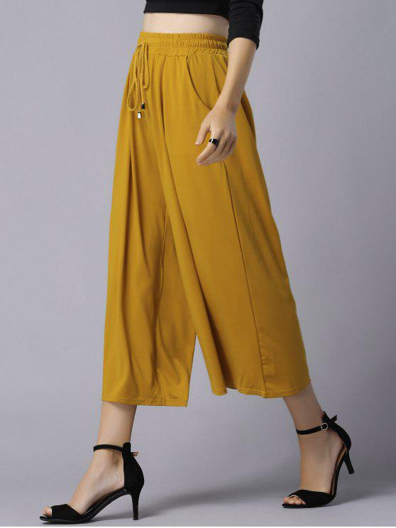 Wide Leg Elastic Waist Drawstring Pants - Ginger
