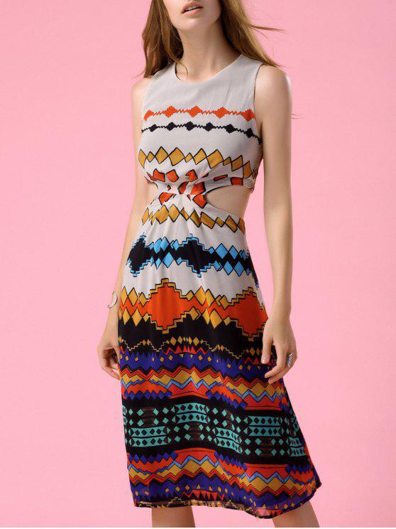 Imprimé géométrique Cutout taille Robe - Multicolore S