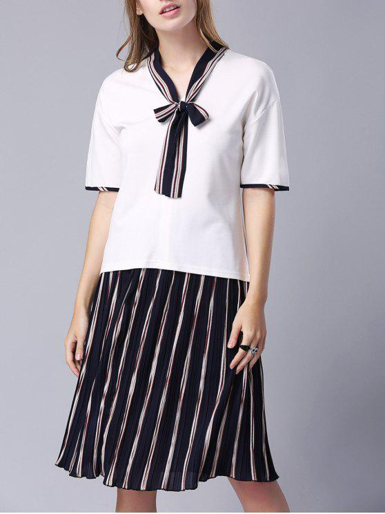 9acfcdb5931180 34% OFF] 2019 Bow-Tie Tee And Pleated Stripe Skirt In WHITE | ZAFUL