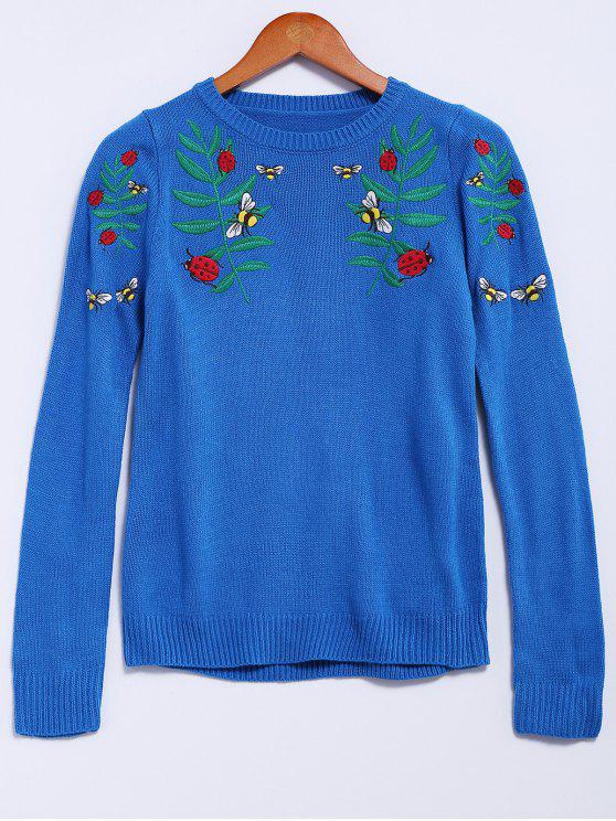 fancy Floral Embroidery Long Sleeve Sweater - BLUE M