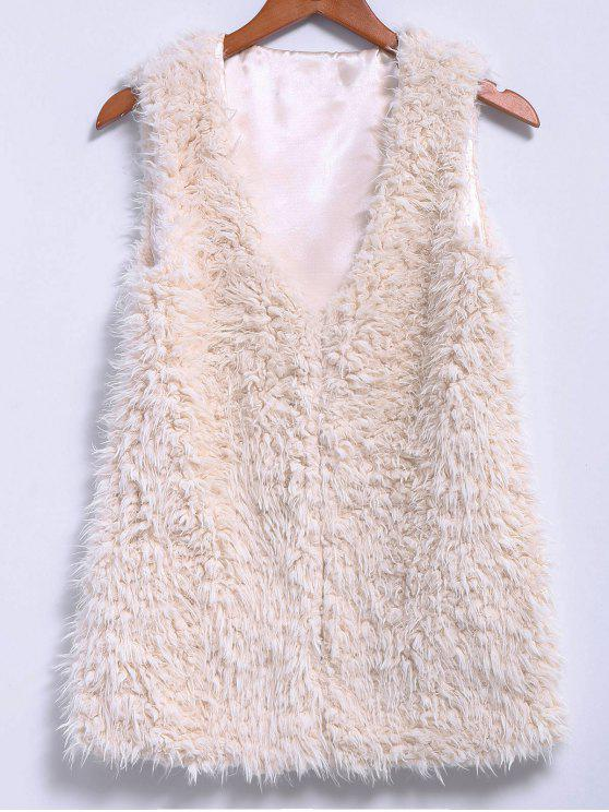 best Lamb Wool V-Neck Sleeveless Waistcoat - OFF-WHITE M
