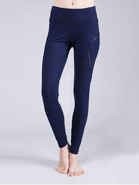 fashion Mesh Panelled Active Leggings - CADETBLUE S