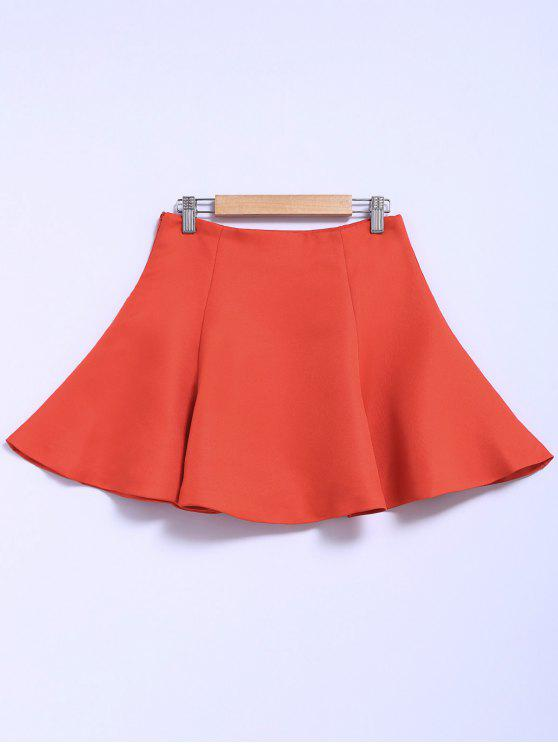 latest Solid Color Flouncing A-Line Skirt - ORANGE RED S