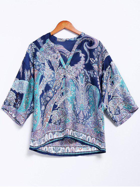 affordable V-Neck Retro Print Blouse - BLUE L