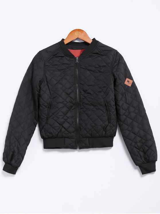 fancy Solid Color Stand Collar Argyle Jacket - BLACK L