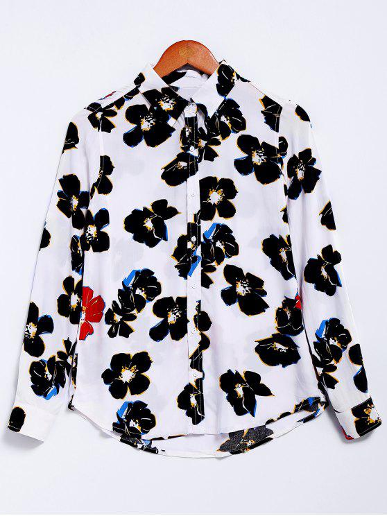 affordable Flower Print Long Sleeve Shirt - WHITE M