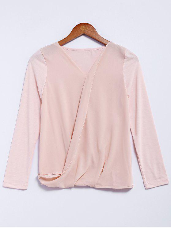 trendy V-Neck Long Sleeve Splicing Blouse - PINK M