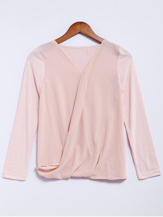 trendy V-Neck Long Sleeve Splicing Blouse - PINK M