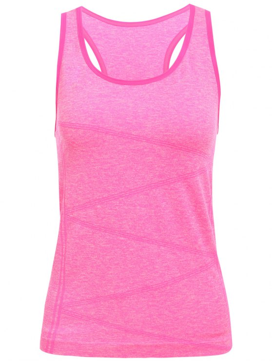 ladies Space Dyed U Neck Racerback Top - ROSE MADDER S