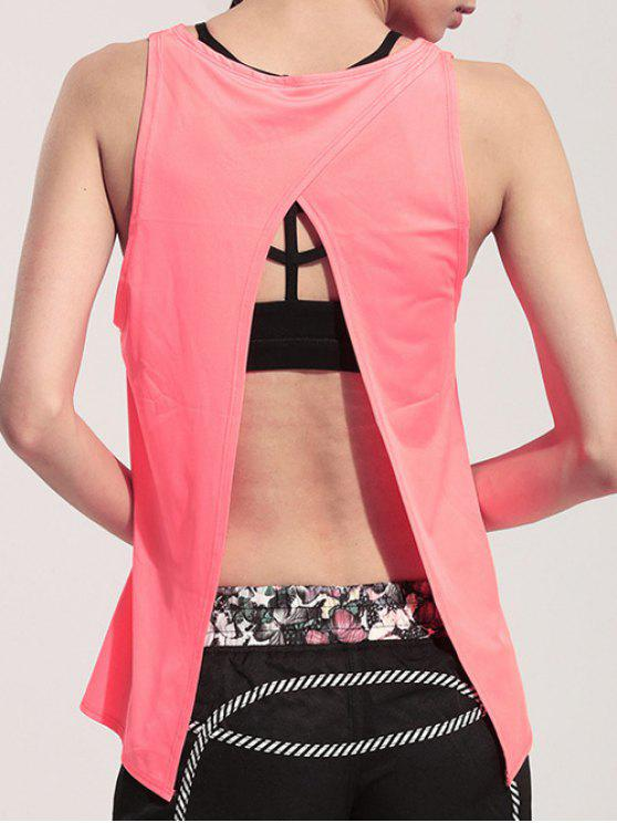 online Back Slit Relaxed Tank Top - PINK L