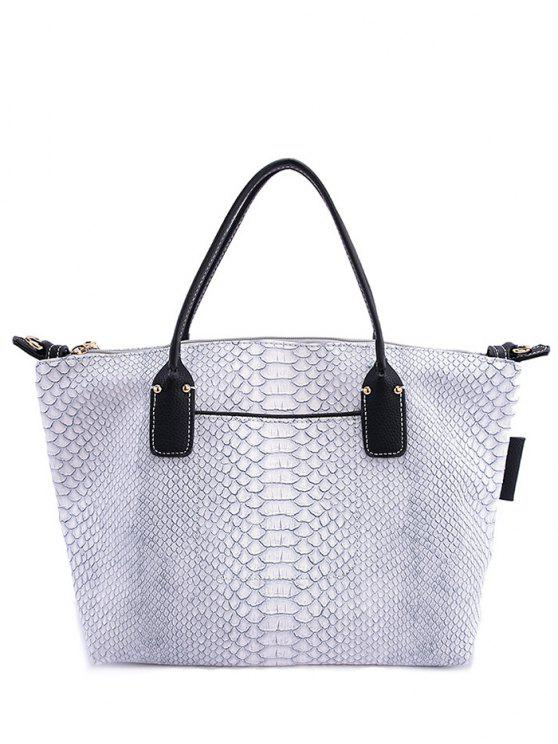 sale Snake Print PU Leather Tote Bag - GRAY
