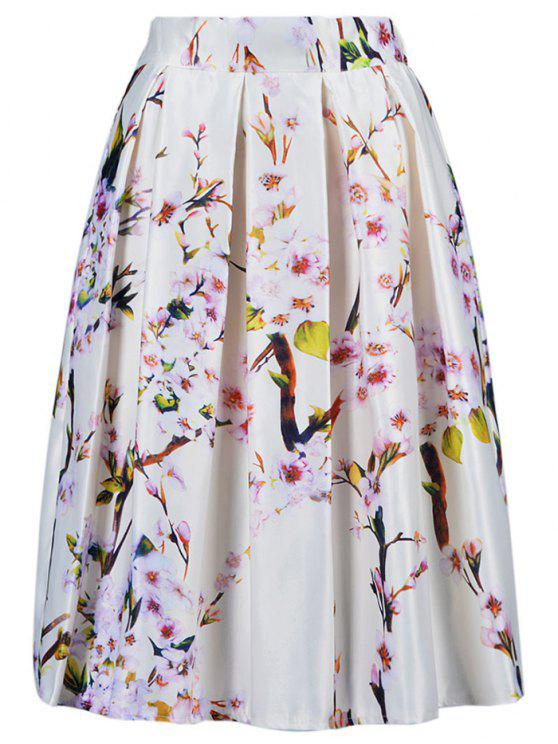 chic A Line Tiny Flower Print Skirt - OFF-WHITE ONE SIZE(FIT SIZE XS TO M)
