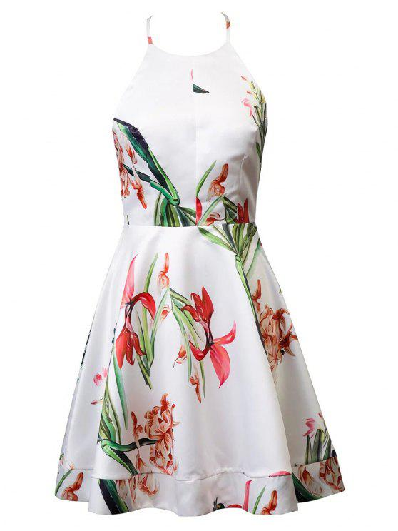 unique Backless Halter Floral Print Back Bowknot Ball Gown Dress - WHITE M