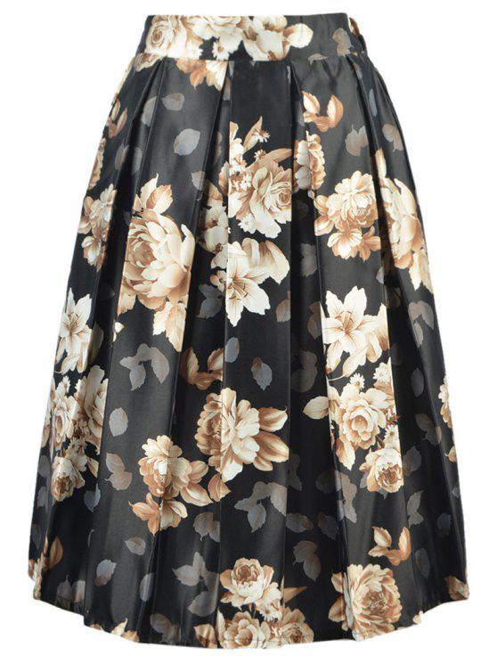 affordable High Waisted A Line Floral Print Skirt - BLACK ONE SIZE(FIT SIZE XS TO M)