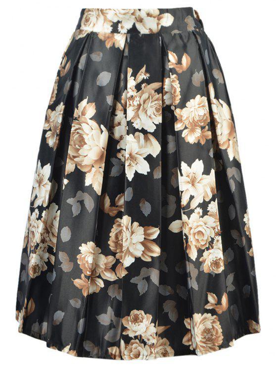 Falda de talle alto Imprimir una línea floral - Negro Un tamaño(Montar tam