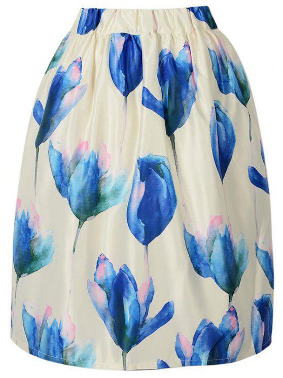 Impresión floral elástico de la cintura una falda de línea - Blancuzco Un tamaño(Montar tam
