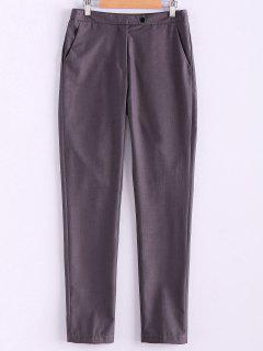 Narrow Feet Solid Color Pants - Gray L