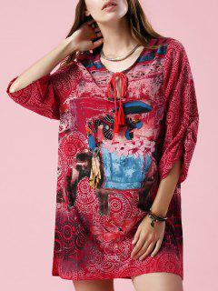 Elephant Print V Neck 3/4 Sleeve Dress - S