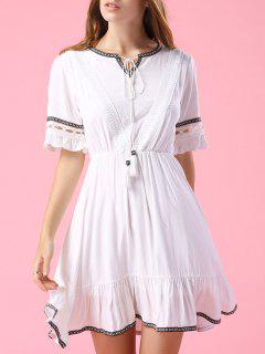 Embroidery V Neck Short Sleeve A Line Dress - White S