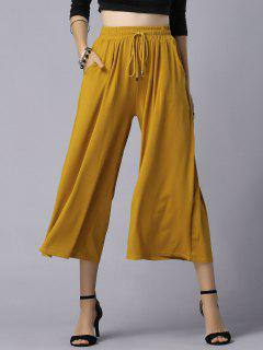 Wide Leg Elastic Waist Drawstring Pants - Ginger 4xl