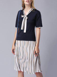 Bow-Tie Tee And Pleated Stripe Skirt - Blue S
