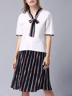 Bow-Tie Tee And Pleated Stripe Skirt - White S