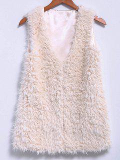 Lamb Wool V-Neck Sleeveless Waistcoat - Off-white L