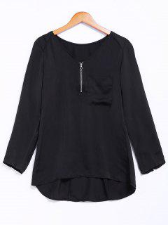 Pocket V-Neck Zipper Embellished Blouse - Black M