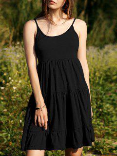 Vestido Con Gradas De La Camiseta Del Color Sólido - Negro L