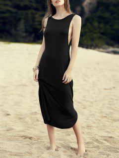 Irregular Hem Round Neck Solid Color Dress - Black M