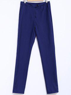 Narrow Feet Solid Color Pants - Blue L