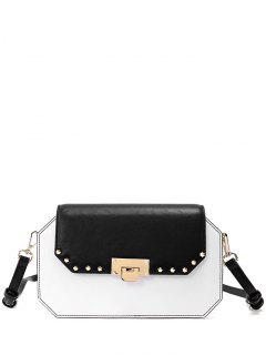 Hasp Rivet Color Block Crossbody Bag - White And Black