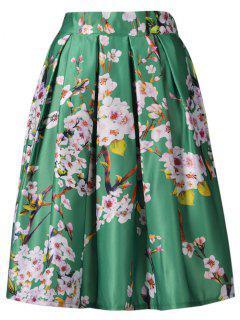 Una Falda De Línea De Impresión Floral - Verde