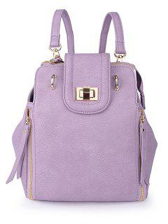 Solid Color Hasp Zips Satchel - Purple